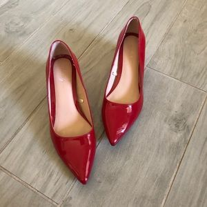 Zara Red Patent Leather Block Heels